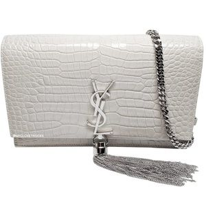 Saint Laurent White Kate Croc Chain Wallet